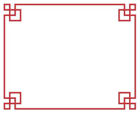 3D red chinese pattern border frame, illustration Ilustração