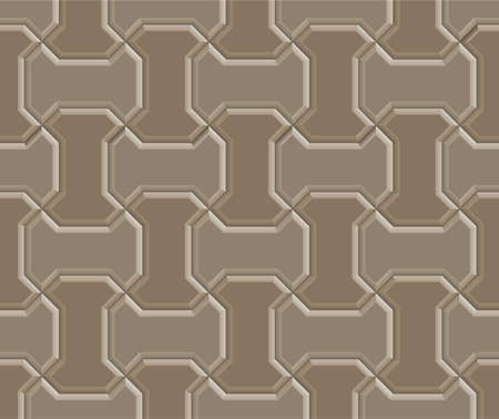 3D clay worm brick pavement pattern texture tile of walkway, sidewalk, pathway, vector design