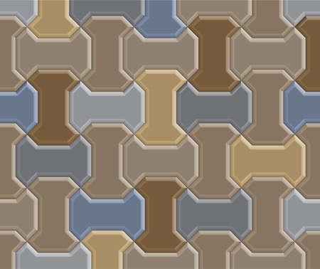 3D clay worm brick pavement pattern texture tile of walkway, sidewalk, pathway, vector design Stock Vector - 80630890