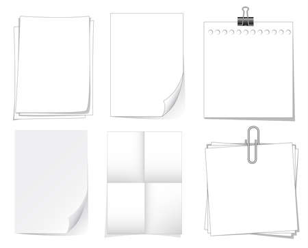Notebook paper and sheet isolate on white background for memo, vector set