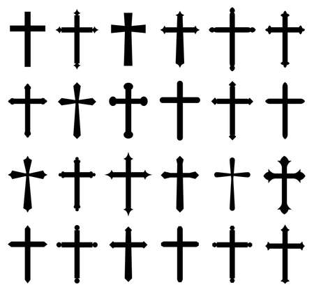 Religion cross icon set, design