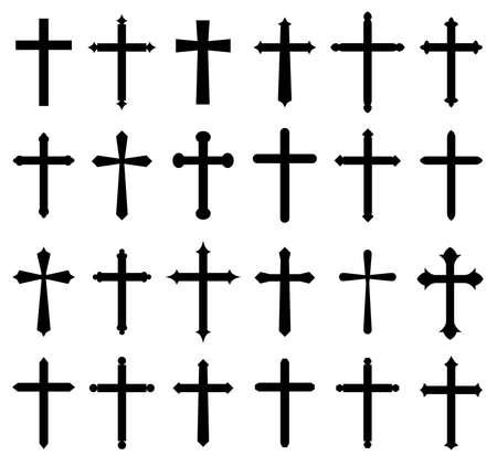 Set di icone croce religiosa, disegno Archivio Fotografico - 80908223