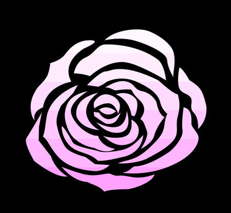 Pink rose icon, draw vector for decoration on black background