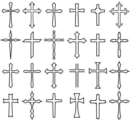 Religion cross icon set, line design
