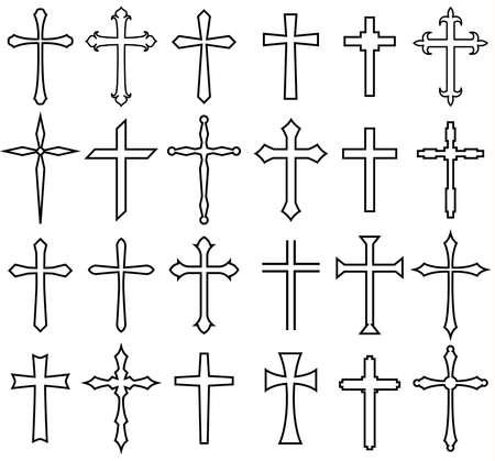 Religion cross icon set, line design