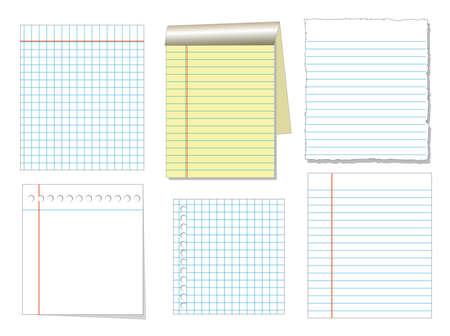 Notebook Papier und Blatt isolieren auf weißem Hintergrund für Memo, Vektor-Set