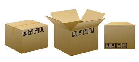 empty warehouse: Brown packaging boxes with warning signs