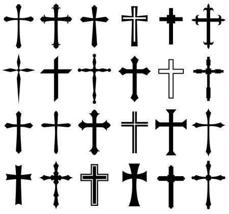Zestaw ikon krzyża religii, projekt Ilustracje wektorowe