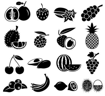 fruit pictogram vector set