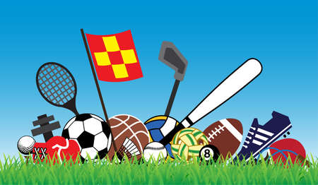 teen golf: sports concept with equipment on green grass and blue sky Vectores