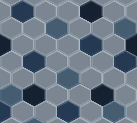 old style of hexagon blue pavement tile pattern background, illustration design Illustration