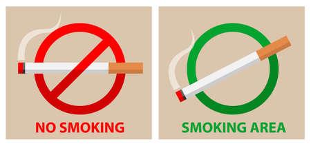 no smoking and smoking area symbol sign icon, vector