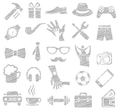 old telephone: drawing sketch accessory uses of father, father day concept, vector icon set