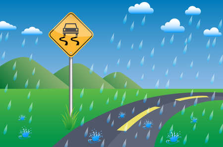 slippery sign road beside street on green grass, mountain view, blue sky and cloud in rainy day, vector illustration