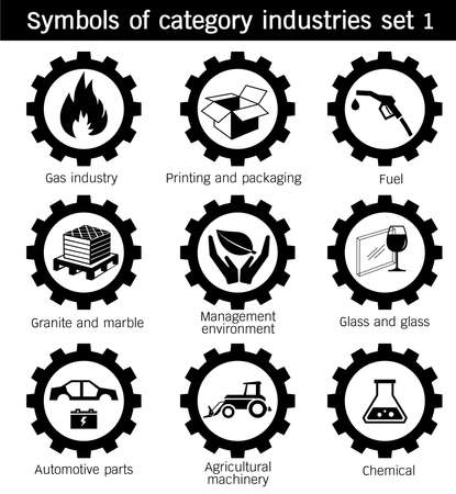 automotive industry: Symbols of category industries icon set Gas, Printing, packaging, Glass, Agricultural, machinery, Management, environment, Granite, marble, Chemical, metals, Automotive, parts