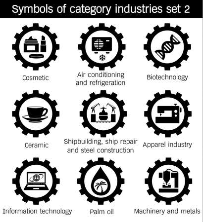 Symbols of category industries, Air conditioning, refrigeration, Cosmetic, Apparel, Information, technology, Ceramic, Shipbuilding, ship repair, steel, construction, Biotechnology, Machinery, Metals