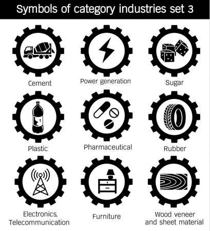 시멘트, 설탕, 플라스틱, 발전, 고무, 가구, 전자 및 통신, 제약, 목재 베니어 및 시트 재료의 기호 카테고리 산업 일러스트