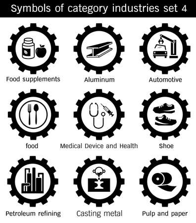 Symbols category industry of Automotive, Pulp and paper, Medical Device and Health, Casting metal, Shoe, Food supplements, Food,Petroleum refining, Aluminum