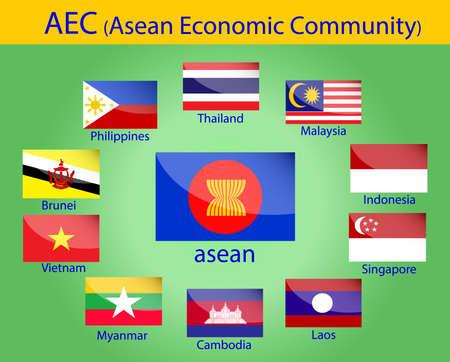 flags of AEC, asean economic community, Thailand, Philippines, Cambodia, Singapore, Indonesia, Myanmar, Vietnam, Brunei, Malaysia and laos in Southeast Asia Illustration