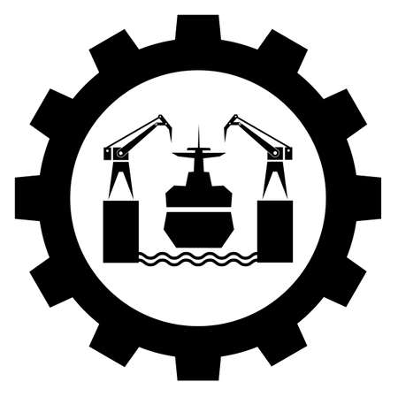 shipbuilding industry sign icon, ship repair and steel construction, vector symbol