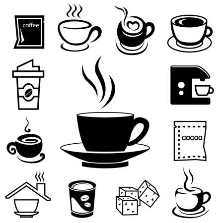 Coffee icon set with accessory and ingredient of glass, cup, bean, sugar, bag, mug, grinder, package, spoon, cake, can for break foods, relaxation, works and fresh mind and serene brain Banco de Imagens - 96347519