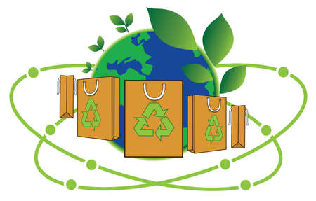 paper shopping bag for green world, reduce, reuse and recycle for save world, conservation concept