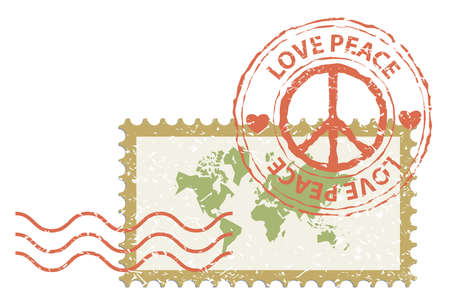 World peace concept, world map in stamp post with peace sign rubber, vintage style