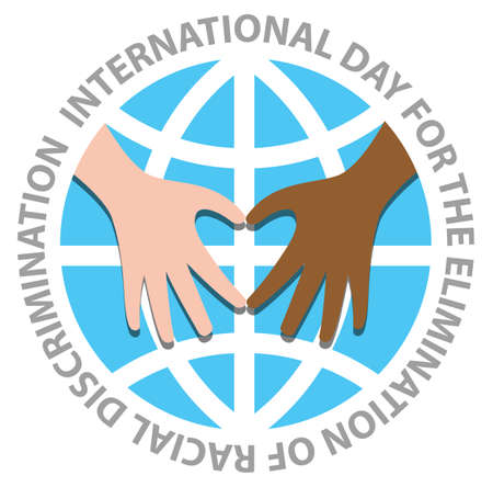 International day for the elimination of racial discrimination with hand make heart on the world Illustration