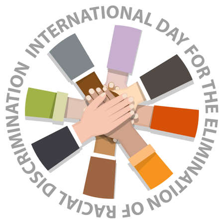 International day for the elimination of racial discrimination with many hand holding around Illustration