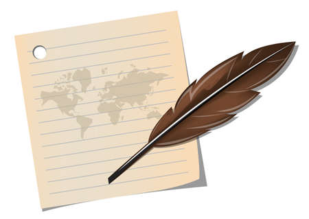 International Poetry Day with feather pen on old note paper and world map