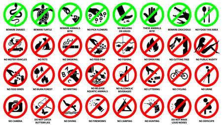 Prohibition sign icon set for public park, vector symbol illustration