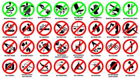 Prohibition sign icon set for public park, vector symbol illustration