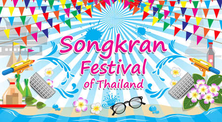 Songkran Festival of thailand, vector sign symbol