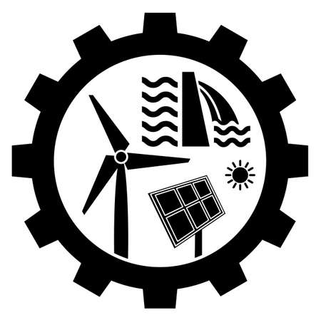 Renewable energy industry icon with wind turbine, solar panel and water power dam