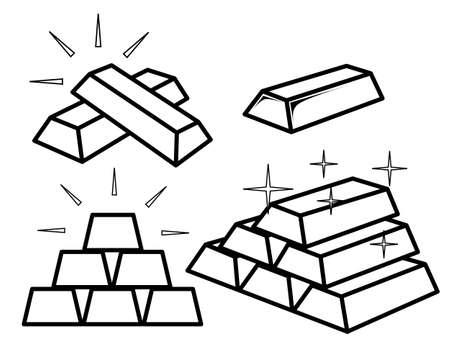 Conjunto de iconos de barra de oro contorno sobre fondo blanco Ilustración de vector