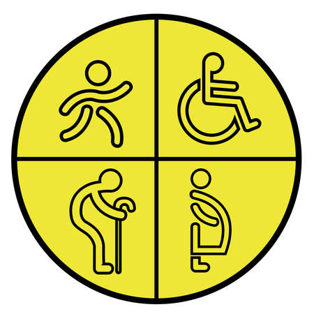 please offer those in need symbol of geezer, pregnant, cripple and child