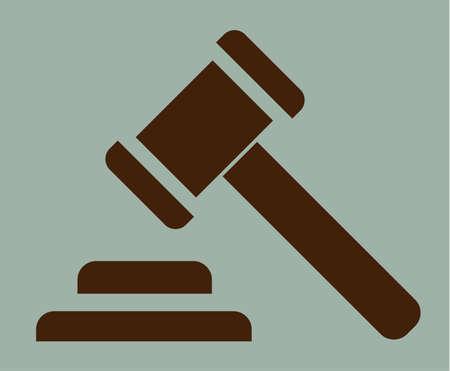 hammer of justice sign icon on green vintage background, vector symbol Illustration