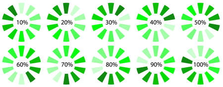 green progress upload, download symbol, web design spinner icon template, vector set