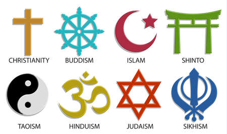 world religion symbol icon set on white background, 3D vector color style