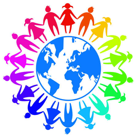 Weltfreundschaftstag Zeichensymbol mit buntem Kind um die Erde