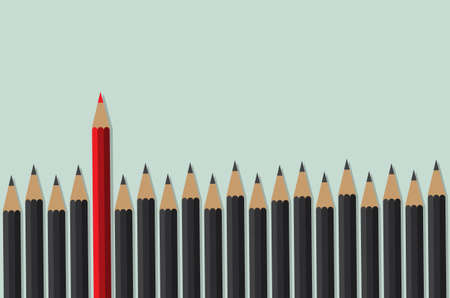 red pencil standing front of black crowd, leadership, initiative, think different, business concept