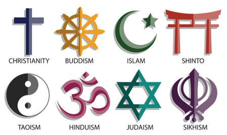 world religion symbol icon set on white background, vector color style Illustration