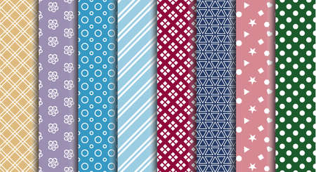 colorful fabric pattern design set for textile print necktie, paper, fabric, handkerchief, scarf, gift wrap vector illustration seamless