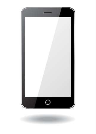 black smartphone on white background, vector illustration