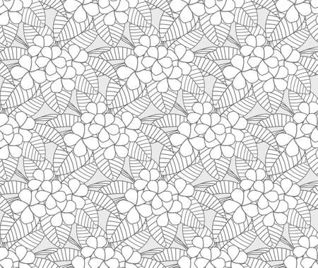 outline plumeria flower pattern seamless, vector draw for textile, texture background