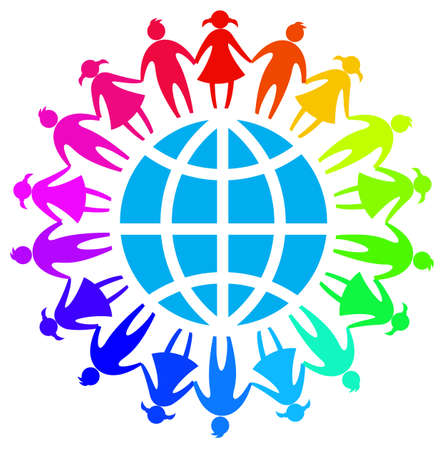 world friendship day sign symbol with colorful child around the global Vectores