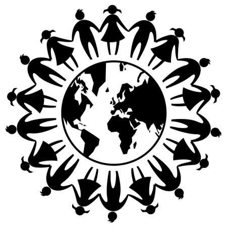 symbole de signe d'icône de la journée mondiale de l'amitié autour de la terre