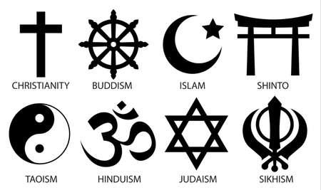 world religion symbol icon set on white background Illustration