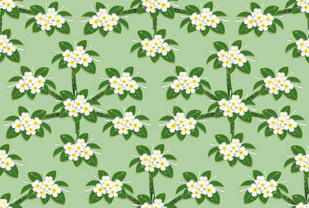 yellow plumeria flower pattern seamless on green background