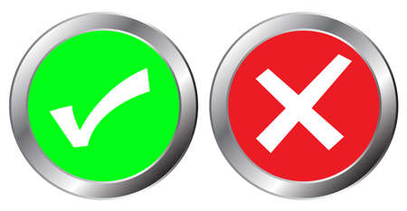 yes and no button symbol, The mark is correct and incorrect on green and red aluminium button